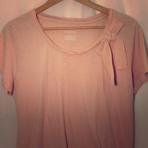MERONA Pink Cotton Basic Tee Cute Bow Short Sleeve