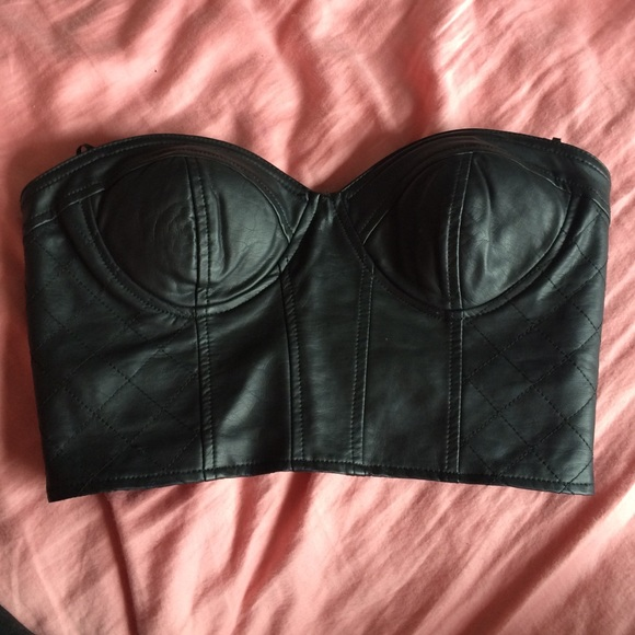 f9218ce36cf Forever 21 Tops - F21 faux leather bustier crop top black strapless