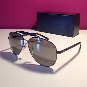 Givenchy Mirrored Black Aviator Sunglasses NWB
