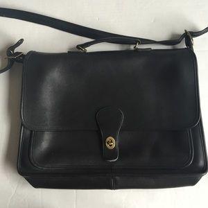 Vintage Coach black leather briefcase bag
