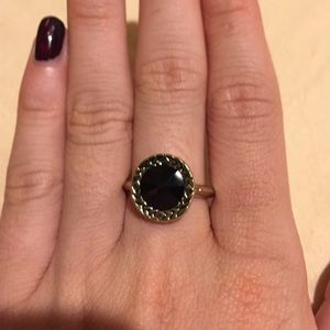 House of Harlow black and gold ring