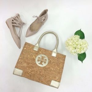 Tory Burch Ella Cork Mini Tote Metallic Leather