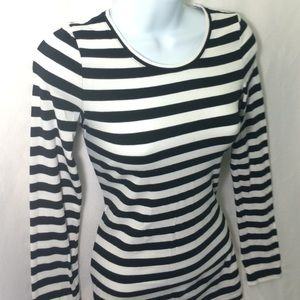EXPRESS Sexy Basic Crew Lng Slv Black White Stripe