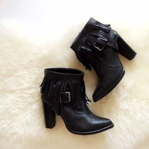 Zara Black Leather Fringe Booties w/ Pointy Toe