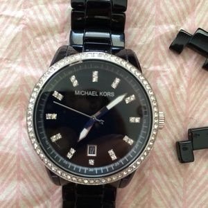 Michael Kors Crystal Black Ceramic Strap Watch