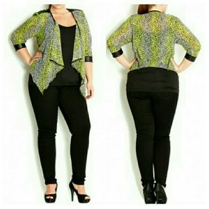 City Chic Jackets & Blazers - 3/4 Sleeve Lime Animal Print Jacket XL=22W