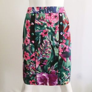 Floral Jungle Pencil Skirt with Buttons