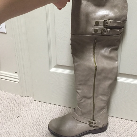 justfab light grey justfab knee high boots from s