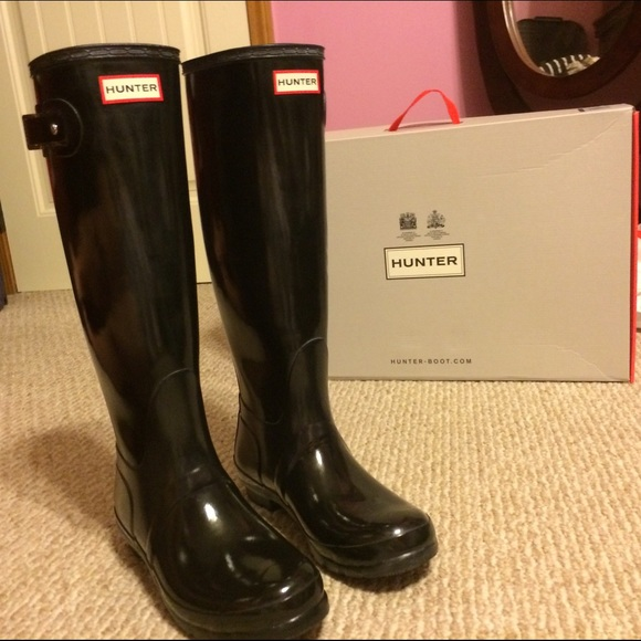new styles e7ef6 c2ff0 Hunter Shoes - Women s Original Tall Gloss Black Hunter Boots