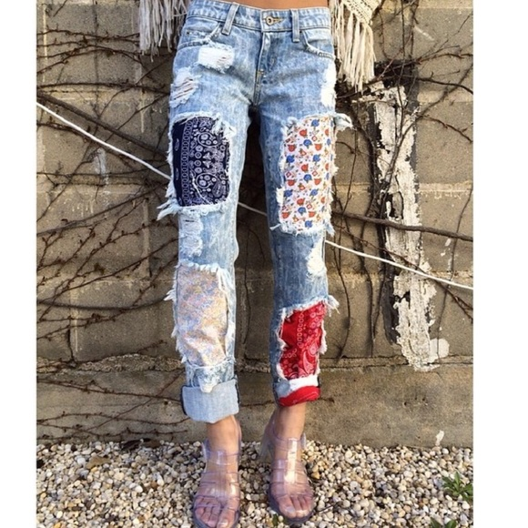 LF - LF carmar distressed bandana patch denim jeans from Daphne's ...