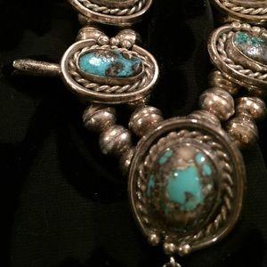 Navajo squash blossom turquoise necklace