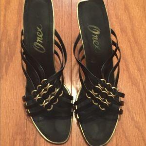 Shoes - Beautiful Black & Gold Dress Shoes!! NWOT
