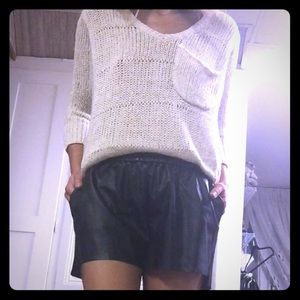H&M Other - Black faux leather drawstring shorts