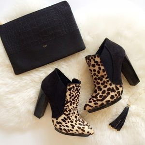 Calf Hair Leopard & Suede Pointed Toe Booties