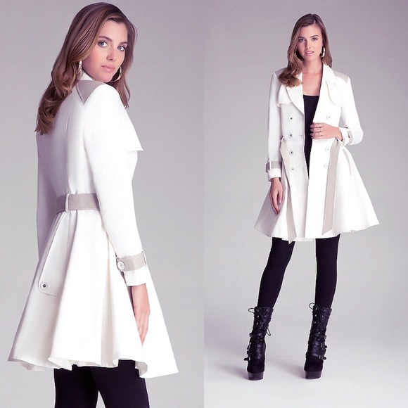 56% off bebe Jackets & Blazers - White Skirted Dress Grace Flare ...