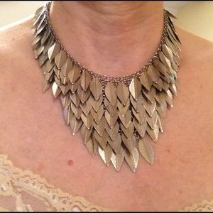 Silver Tone Bib Necklace