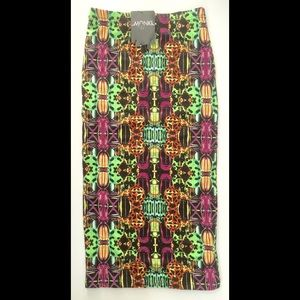 Monki Vibrant Print Pencil Skirt