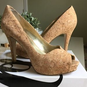 Nine West Shoes - Nine West NW Bonfire Cork Peep Toe Pumps