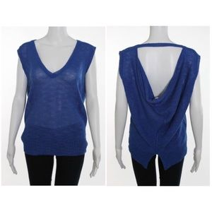360 Sweater Tops - 360 Sweater V Neck Blue Backless Linen Top