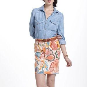 Anthropologie Poppies Handpainted Skirt 27 NWT