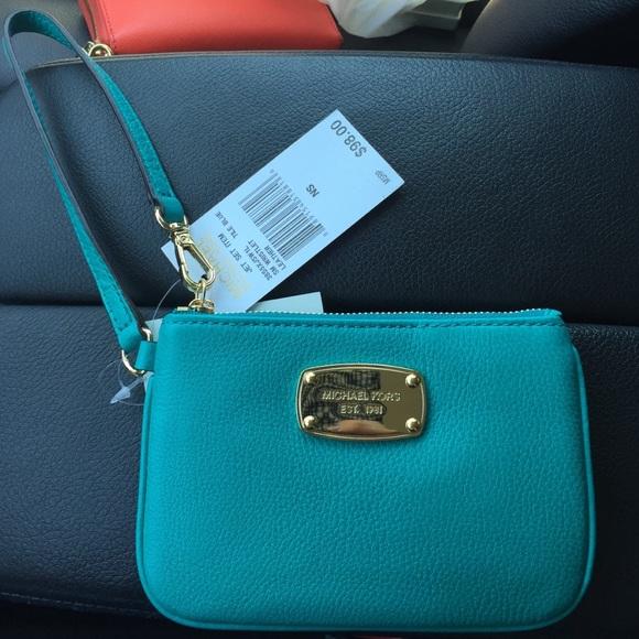 e90d774df8b0 MICHAEL Michael Kors Bags | Michael Kors Turquoise Leather Wristlet ...