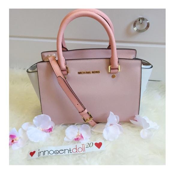 24% off Michael Kors Handbags - Michael Kors Pink Blossom White ...
