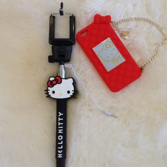 67 off hello kitty accessories hello kitty iphone 6 case and selfie stick from aysha 39 s closet. Black Bedroom Furniture Sets. Home Design Ideas