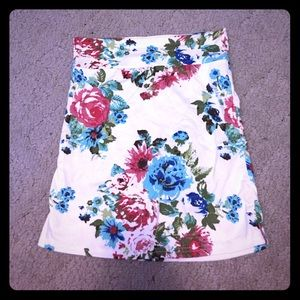Mini pastel floral fitted tube stretchy skirt