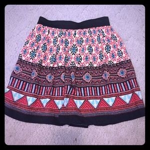 Mini tribal print skater skirt