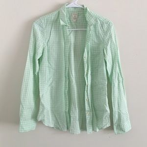 GAP XS pastel green gingham button up
