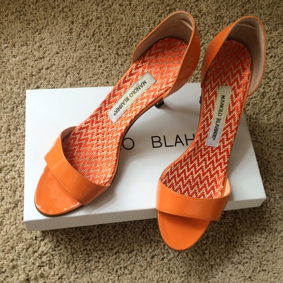 orange manolo blahnik shoes