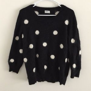 Madewell black & white polka dot sweater size L