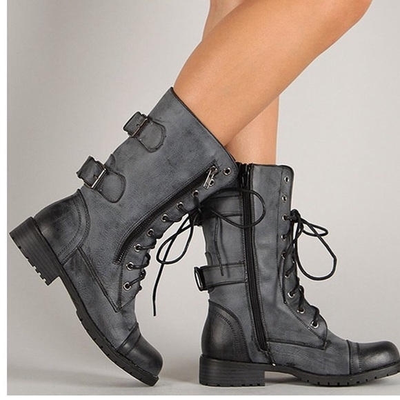 63% off Shoes - Charcoal Grey Military Style Combat Boots from ...