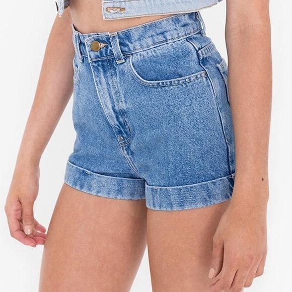 98d057d7b20 American Apparel Denim - American Apparel high waisted cuffed shorts.