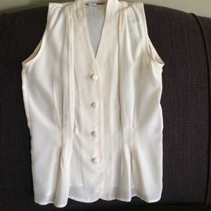 Anna and Frank Tops - NWOT 100% Silk off-white sleeveless blouse