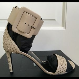 Saint Laurent Shoes - Saint Laurent Jane Studded Nude Leather Sandals