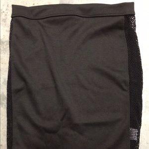 Black Side Mesh Mini Skirt