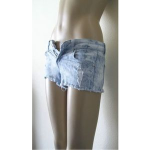 Forever 21 Acid Bleached Ripped Cut Off Shorts