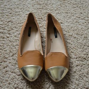Forever 21 gold toe flats