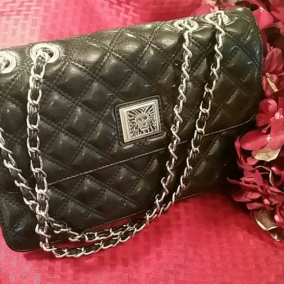 Anne Klein - Anne Klein Black Quilted Purse Light Gold Chains from ... : quilted purses and handbags - Adamdwight.com