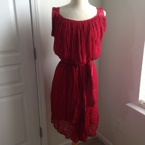 ROBERT FREEMAN RED GAUZE DRESS