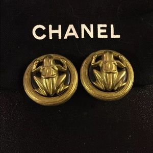 Authentic Chanel frog clip earrings