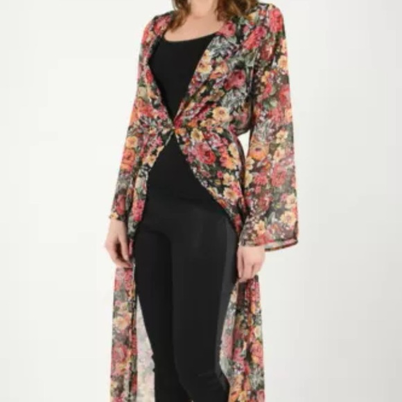 No brand - Multicolored Sheer Maxi Duster Cardigan Dress from ...
