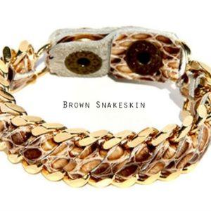 Gold Snakeskin Cuff Bracelet by Chan Luu
