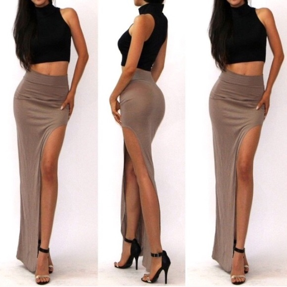 67% off Dresses & Skirts - New tan bodycon high waist asymmetrical ...