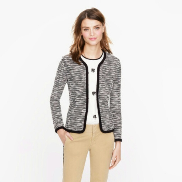 86% off J. Crew Sweaters - J Crew black/white boucle sweater ...