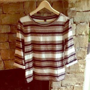 Reverse jacquard stripe top