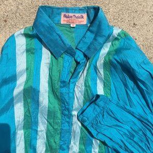 Tops - Brilliant Blue Silk Shirt