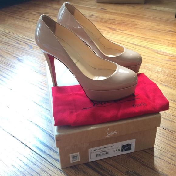 920ed3010e10 Christian Louboutin Shoes - Nude Christian Louboutin Bianca 120 Patent Calf