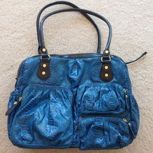 Blue faux snake skin print bag